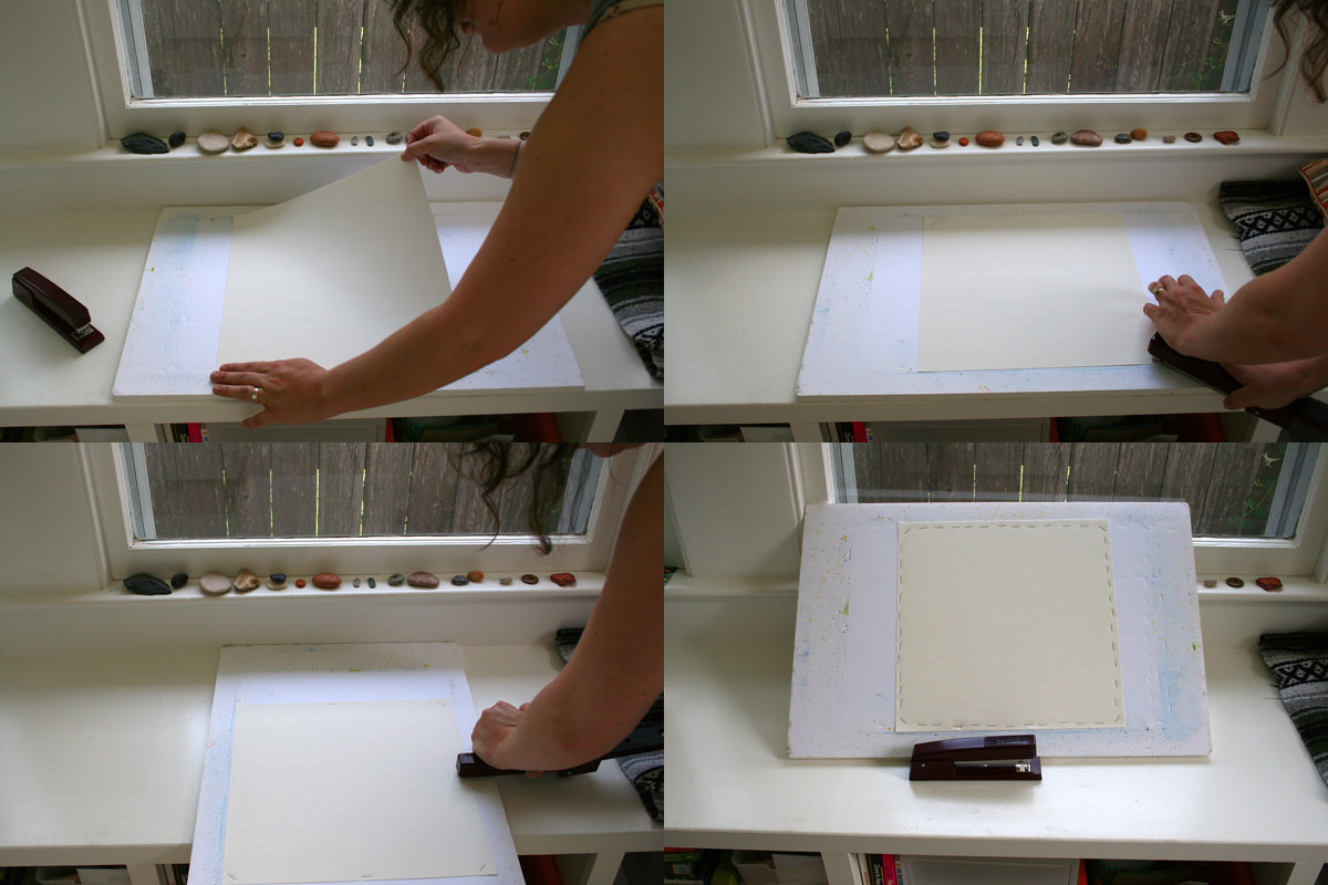 Four views, showing each edge of the watercolor paper being stapled into gatorboard
