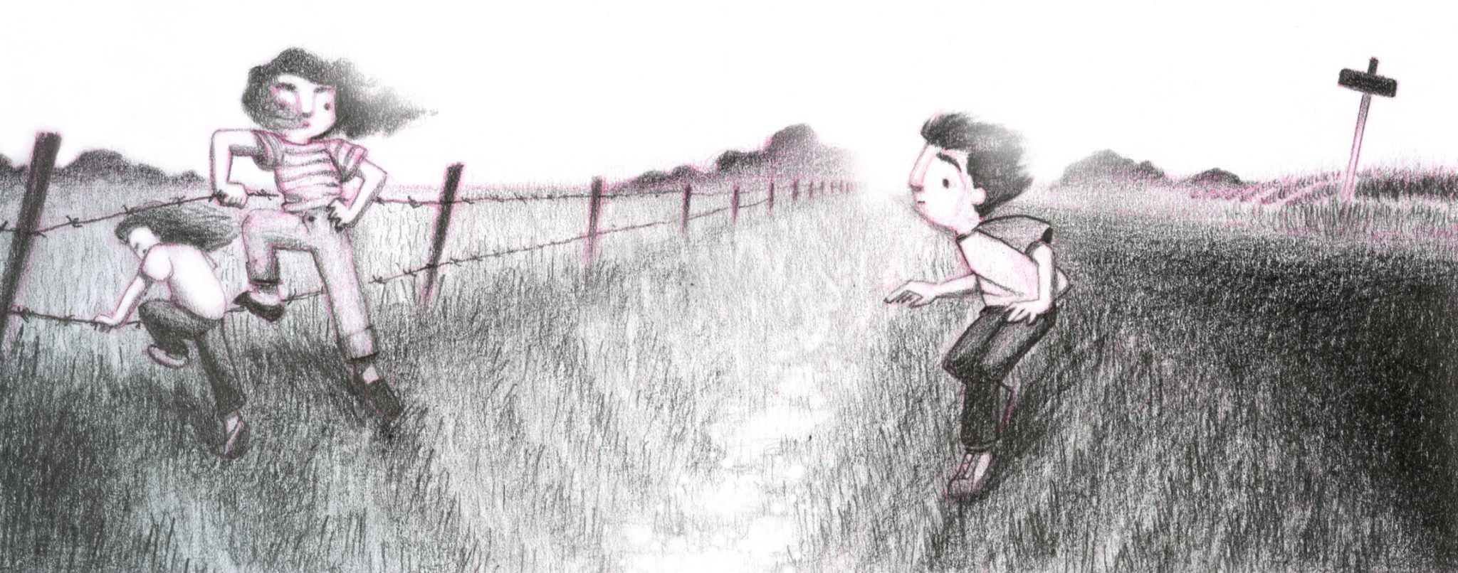 Illustration: small children cross through a culvert and crawl under a barbed wire fence.