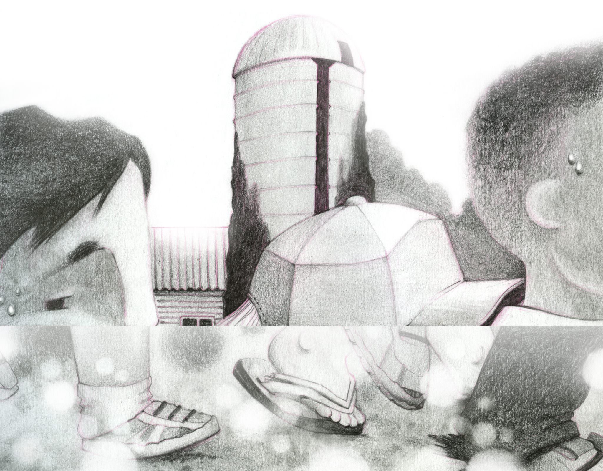 Illustration: children walk past a silo, beads of sweat on their faces.