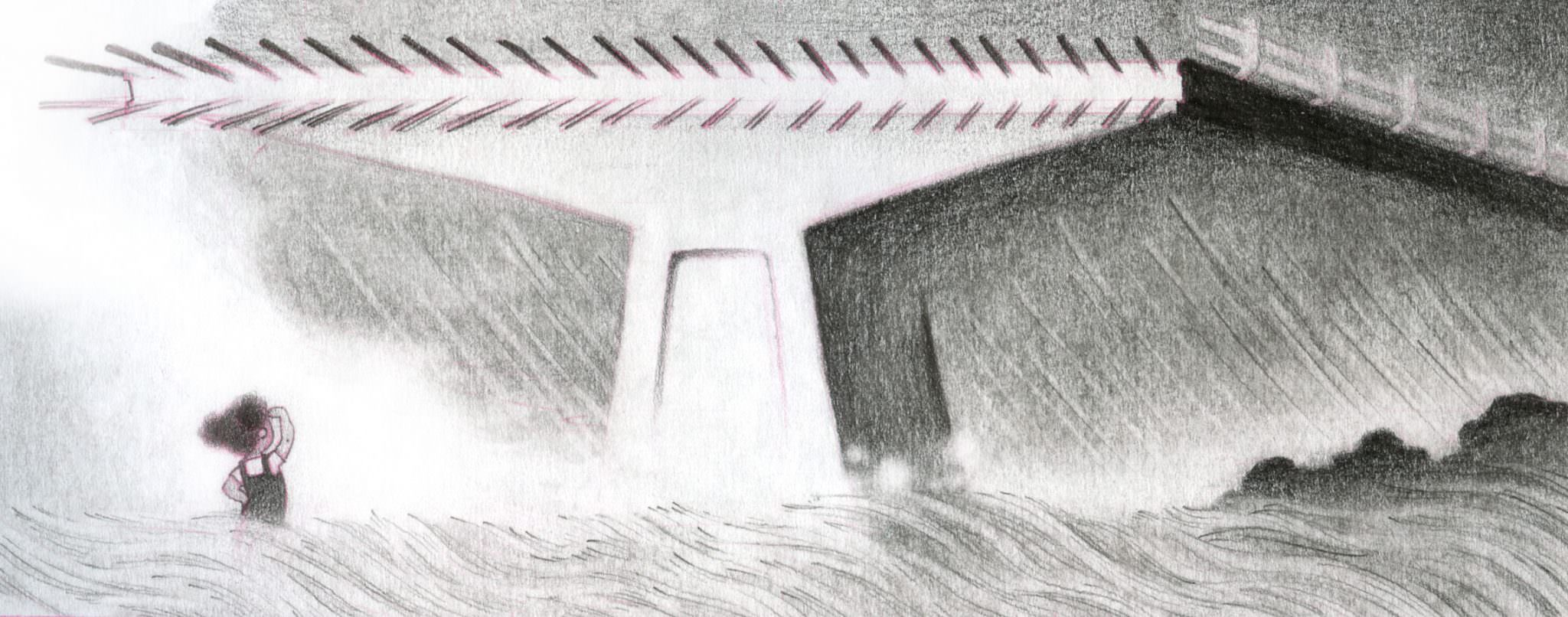 Illustration: a small girl looks up at an unfinished highway overpass, metal rebar extending into the open sky.