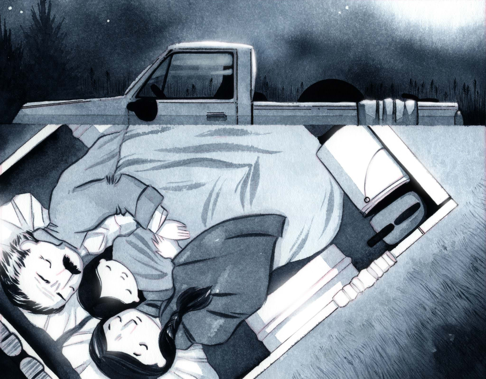 Illustration: a family sleeps peacefully in the back of a pickup truck under moonlight.