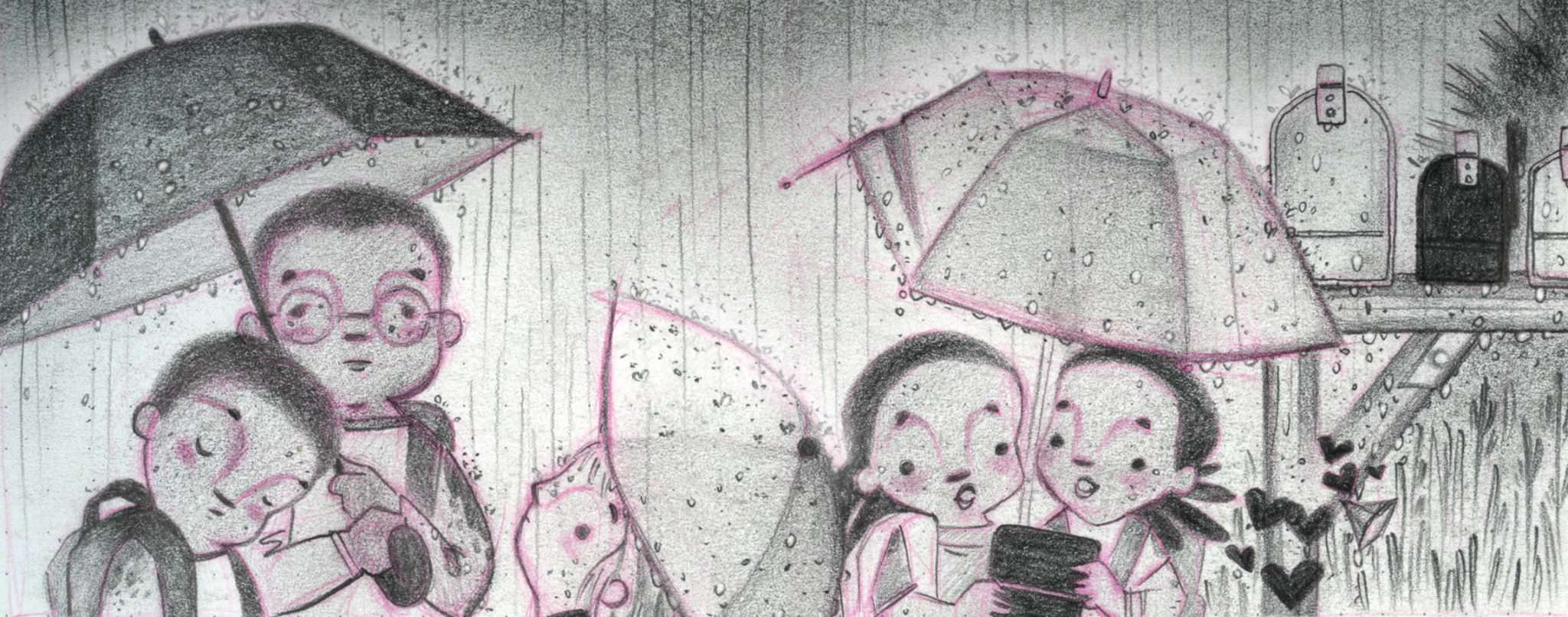 Illustration: a number of children wait next to mailboxes under umbrellas during a downpour.