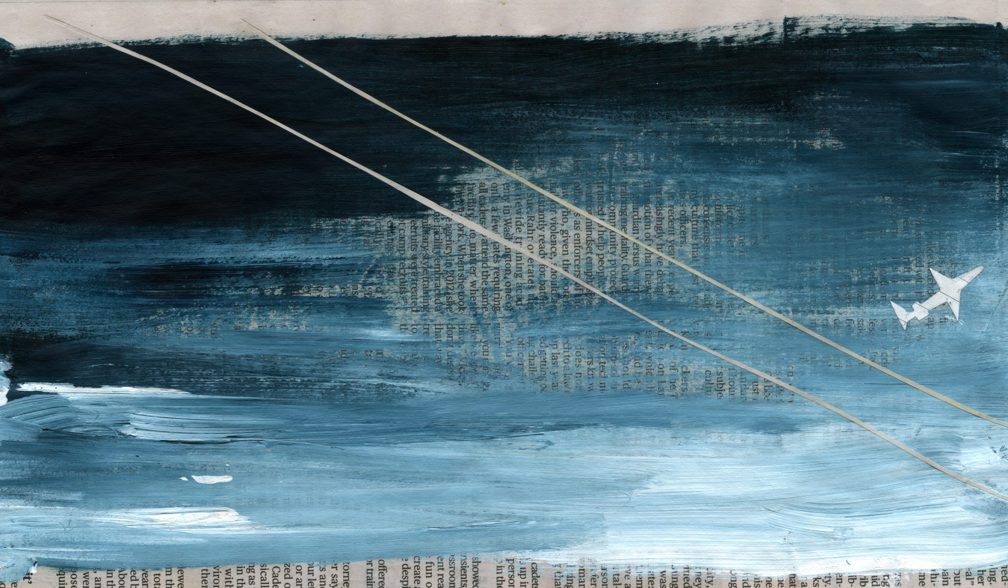 Blue and white painted in newsprint, white lines indicate power lines with a white airplane in close proximity. Second image has blue paint over light pink paint indicating a sunset. There is a white cut out single-wide in the foreground and red dots indicating a radio tower.
