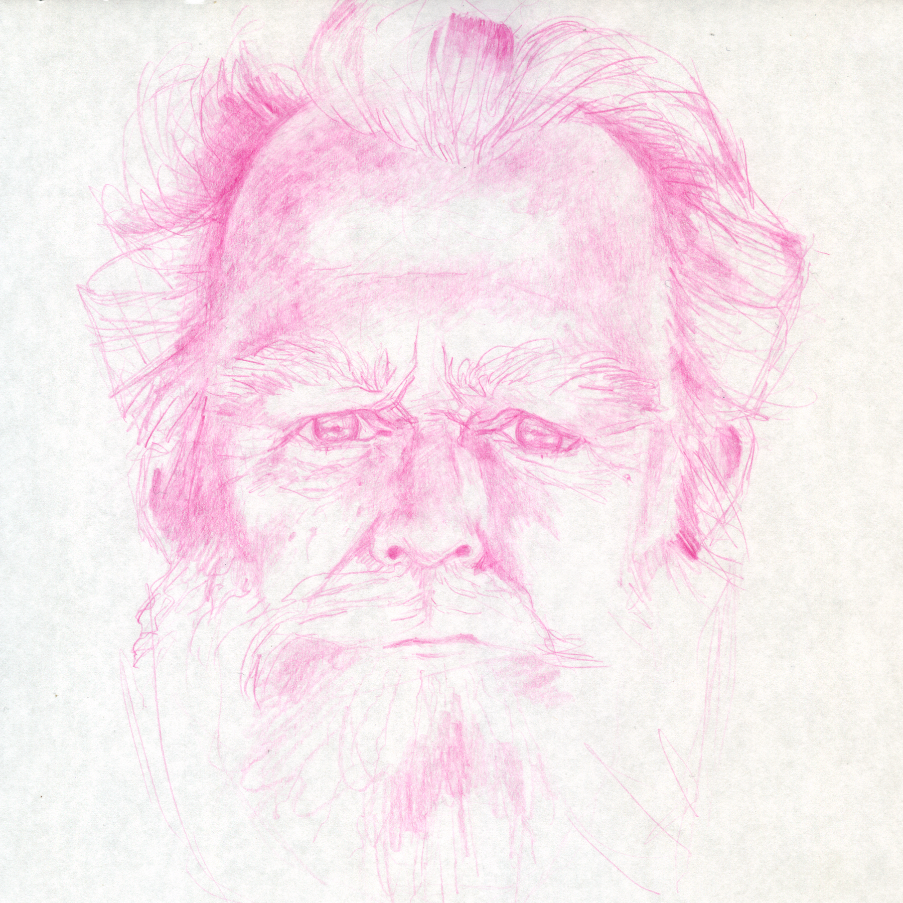 Sketch in magenta of James Turrell